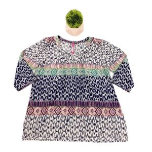 Plenty By Tracy Reese 3/4 Sleeve Multicolor Top M